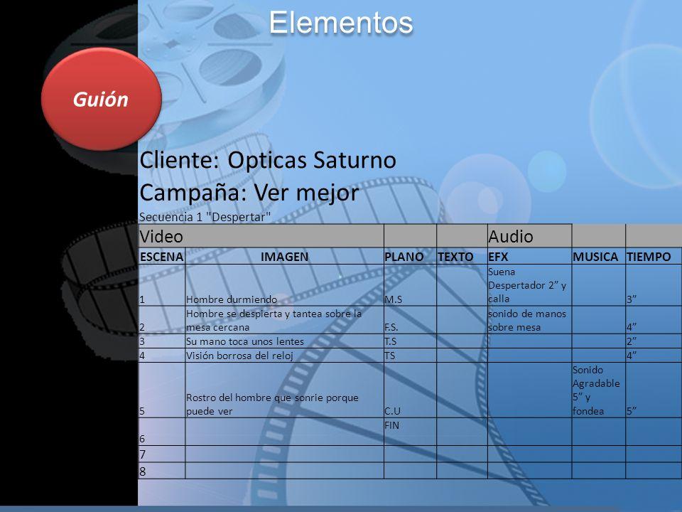 Guión Elementos Cliente: Opticas Saturno Campaña: Ver mejor Secuencia 1