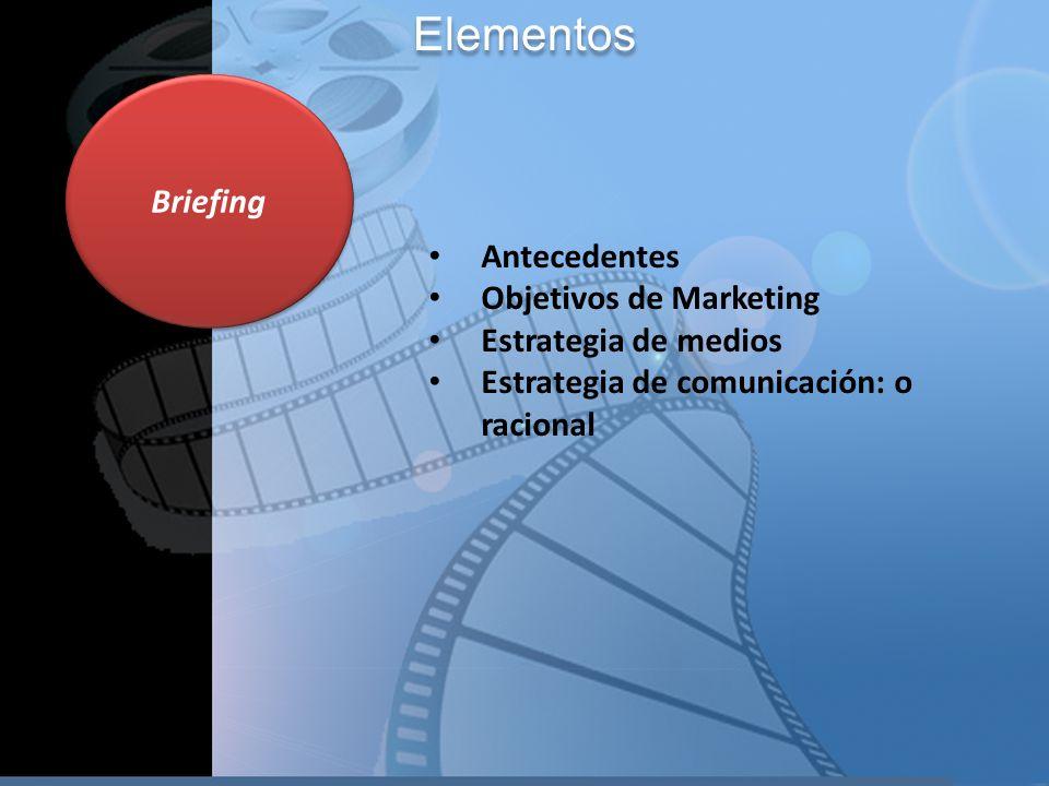 Briefing Antecedentes Objetivos de Marketing Estrategia de medios Estrategia de comunicación: o racional Elementos