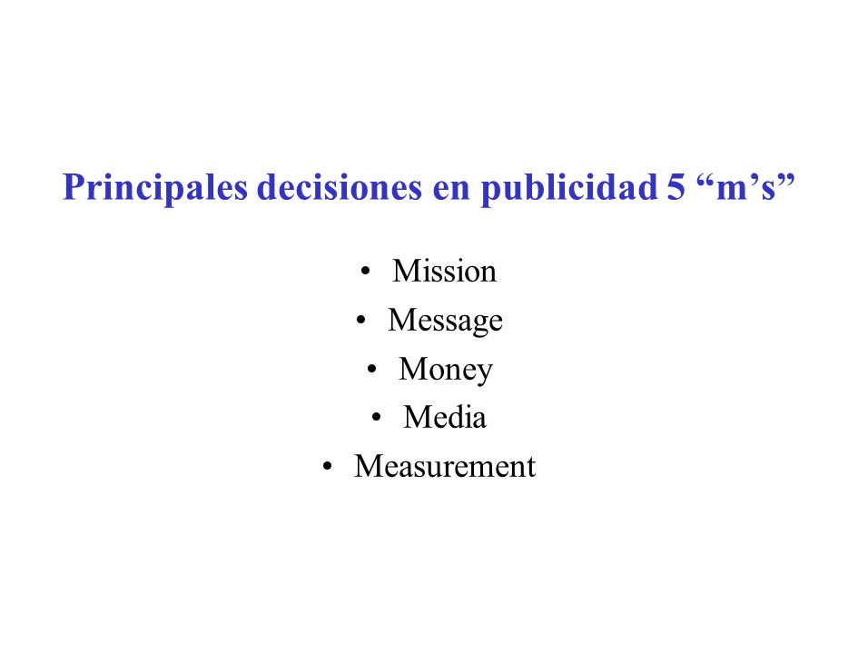 Principales decisiones en publicidad 5 ms Mission Message Money Media Measurement
