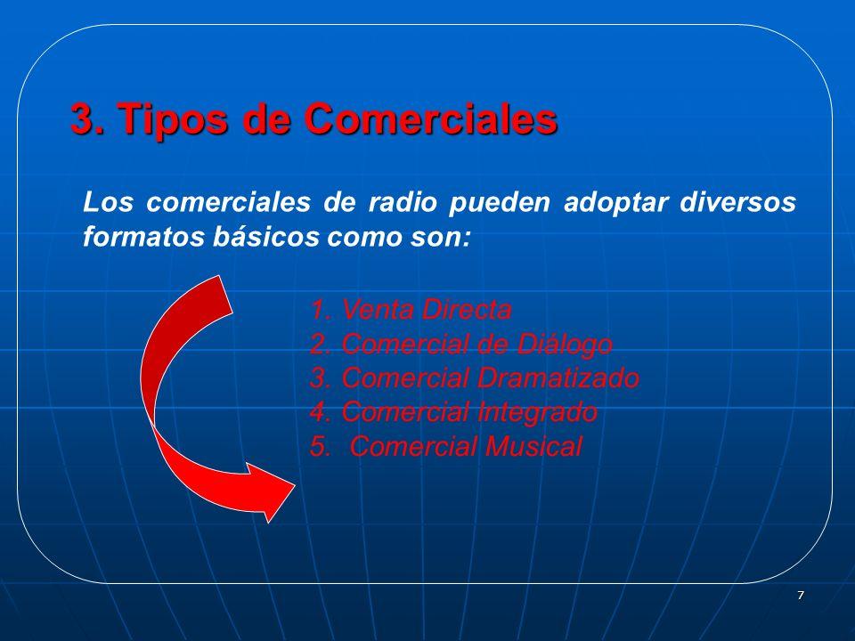 7 Los comerciales de radio pueden adoptar diversos formatos básicos como son: 1.Venta Directa 2.Comercial de Diálogo 3.Comercial Dramatizado 4.Comerci