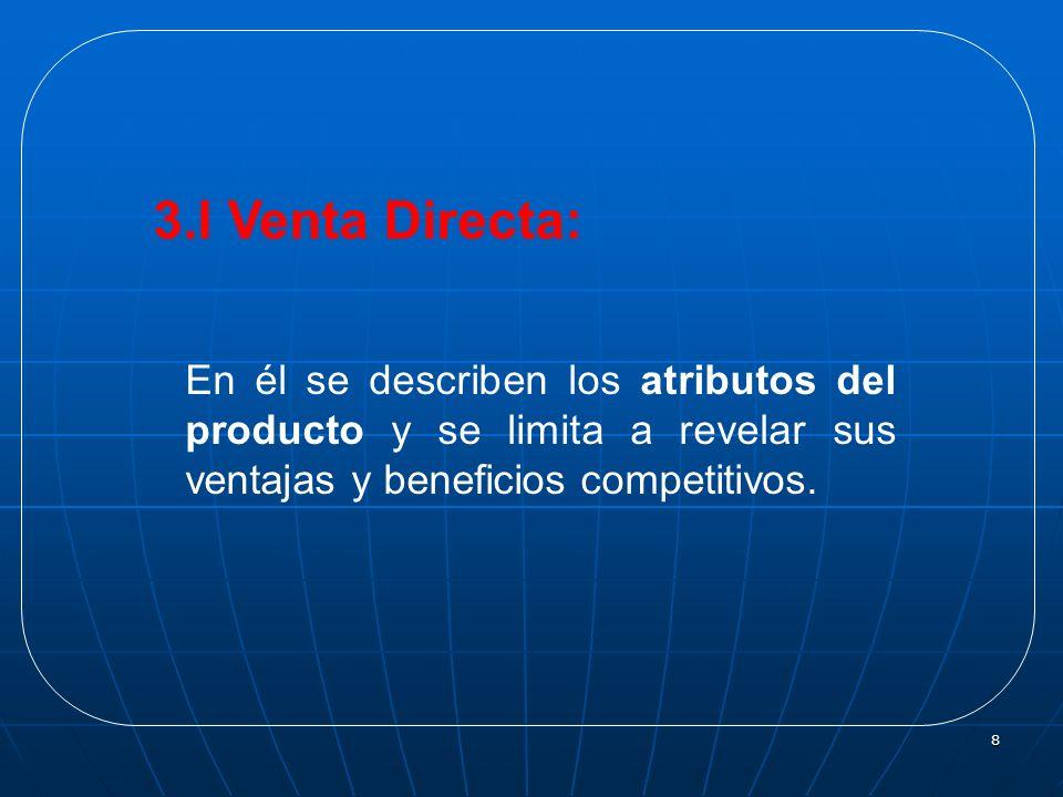 8 En él se describen los atributos del producto y se limita a revelar sus ventajas y beneficios competitivos. 3.I Venta Directa: