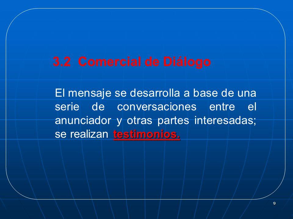 9 3.2 Comercial de Diálogo testimonios. El mensaje se desarrolla a base de una serie de conversaciones entre el anunciador y otras partes interesadas;