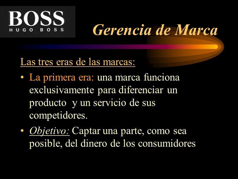 Gerencia de Marca Las tres eras de las marcas: La primera era: una marca funciona exclusivamente para diferenciar un producto y un servicio de sus com