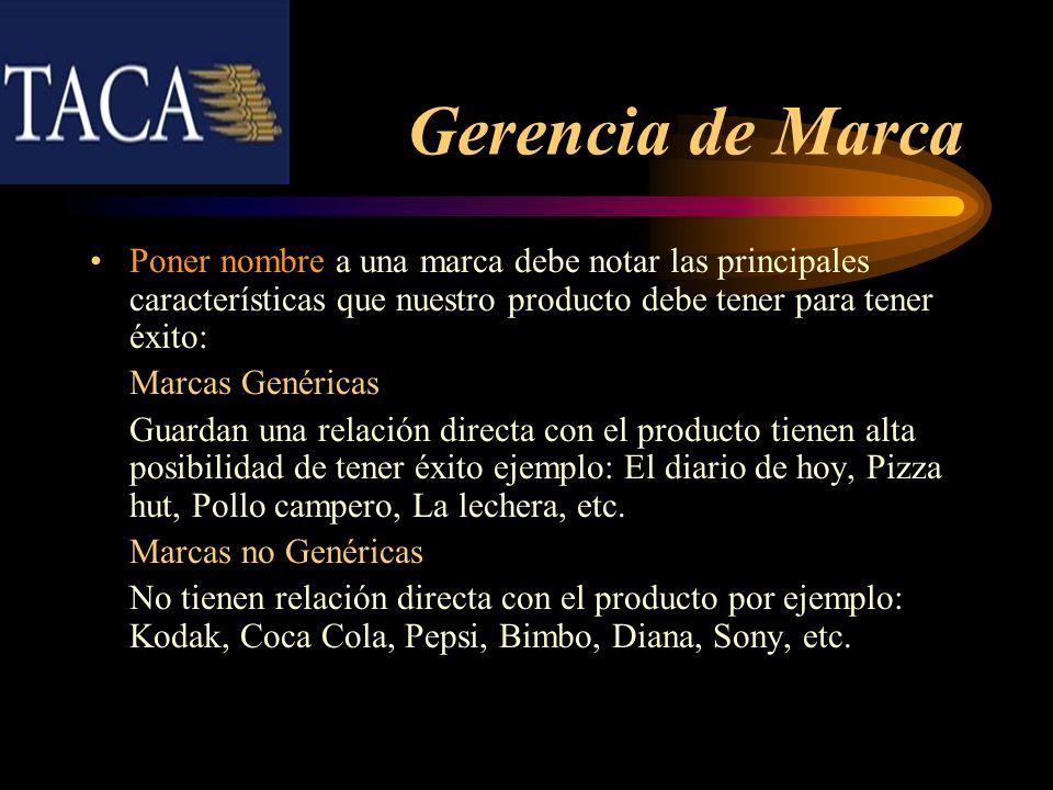 Gerencia de Marca Poner nombre a una marca debe notar las principales características que nuestro producto debe tener para tener éxito: Marcas Genéric