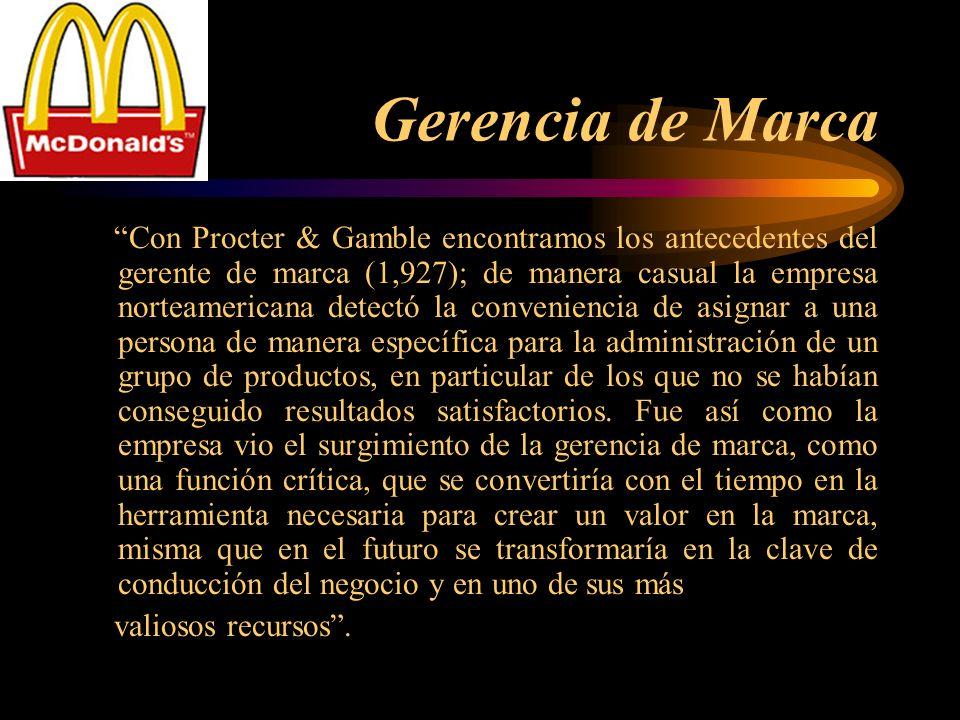 Gerencia de Marca Con Procter & Gamble encontramos los antecedentes del gerente de marca (1,927); de manera casual la empresa norteamericana detectó l