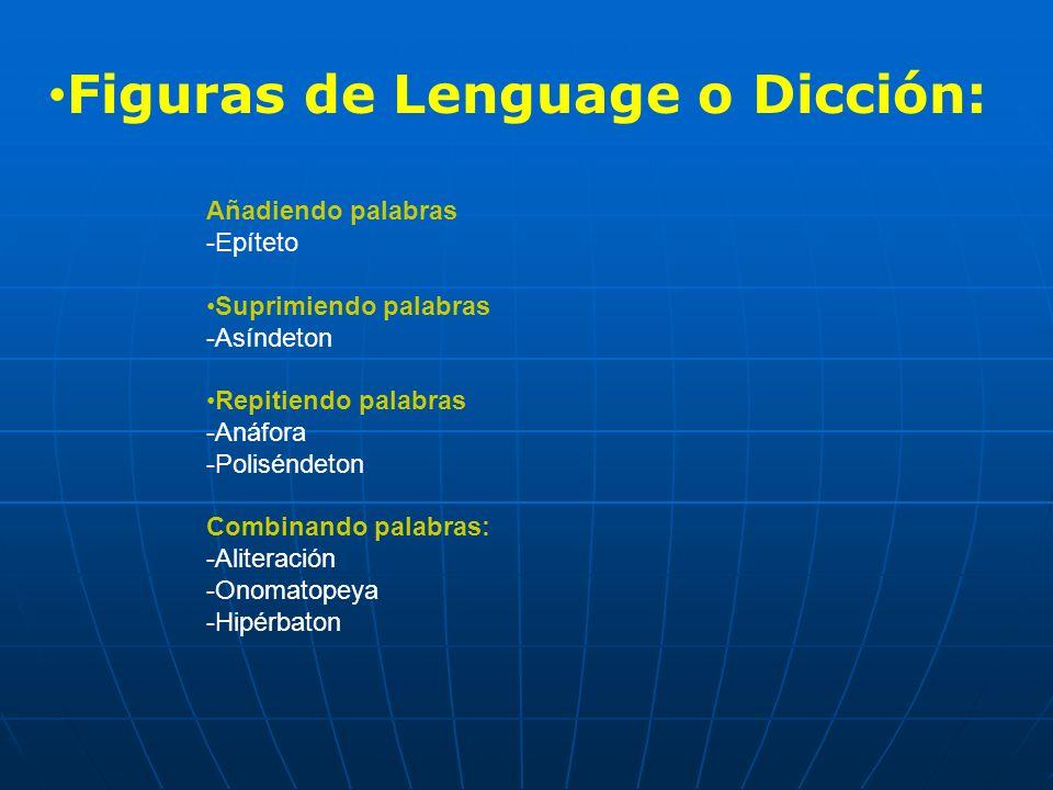 Añadiendo palabras -Epíteto Suprimiendo palabras -Asíndeton Repitiendo palabras -Anáfora -Poliséndeton Combinando palabras: -Aliteración -Onomatopeya -Hipérbaton Figuras de Lenguage o Dicción:
