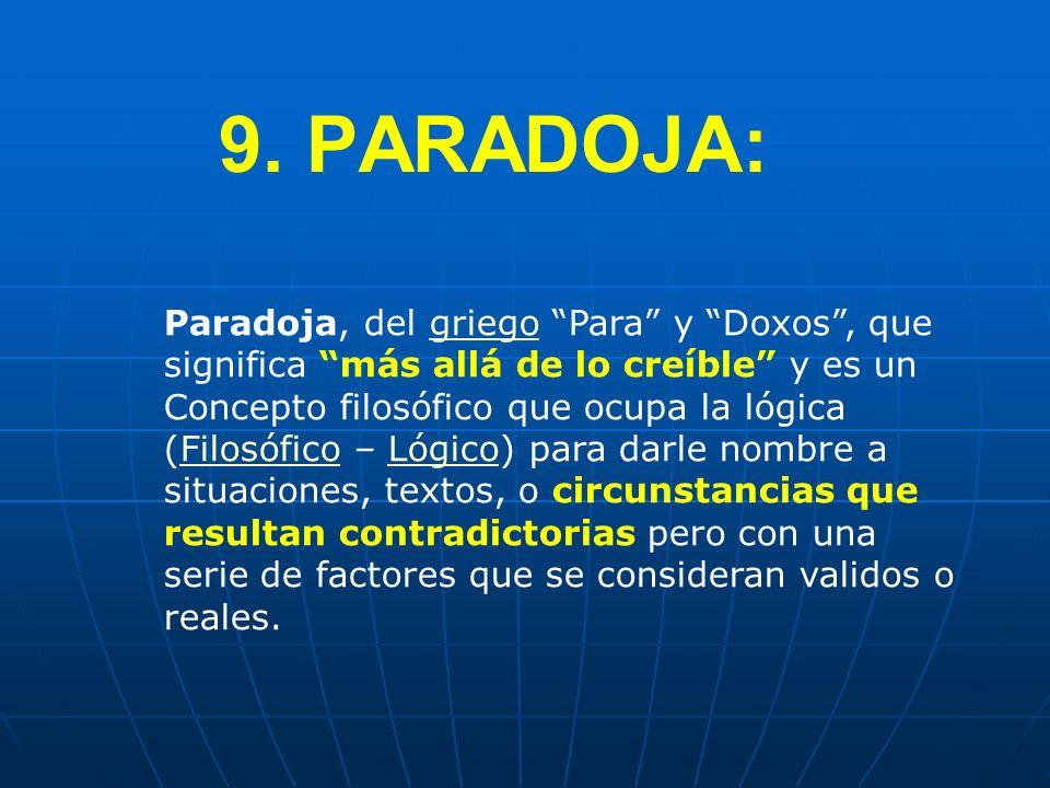 9. PARADOJA: Paradoja, del griego Para y Doxos, que significa más allá de lo creíble y es un Concepto filosófico que ocupa la lógica (Filosófico – Lóg