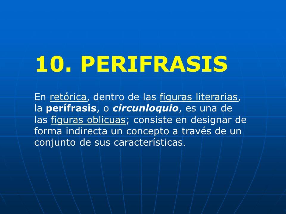10. PERIFRASIS En retórica, dentro de las figuras literarias, la perífrasis, o circunloquio, es una de las figuras oblicuas; consiste en designar de f