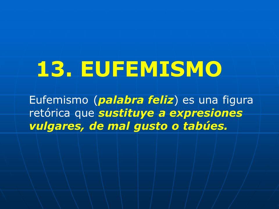 13. EUFEMISMO Eufemismo (palabra feliz) es una figura retórica que sustituye a expresiones vulgares, de mal gusto o tabúes.