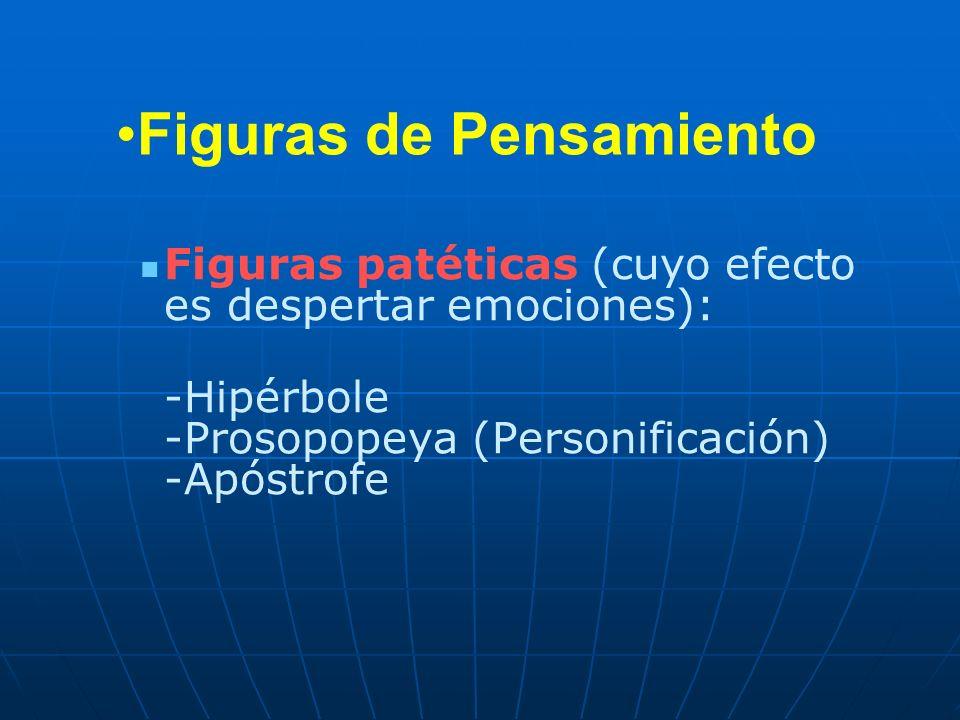 Figuras de Pensamiento Figuras patéticas (cuyo efecto es despertar emociones): -Hipérbole -Prosopopeya (Personificación) -Apóstrofe