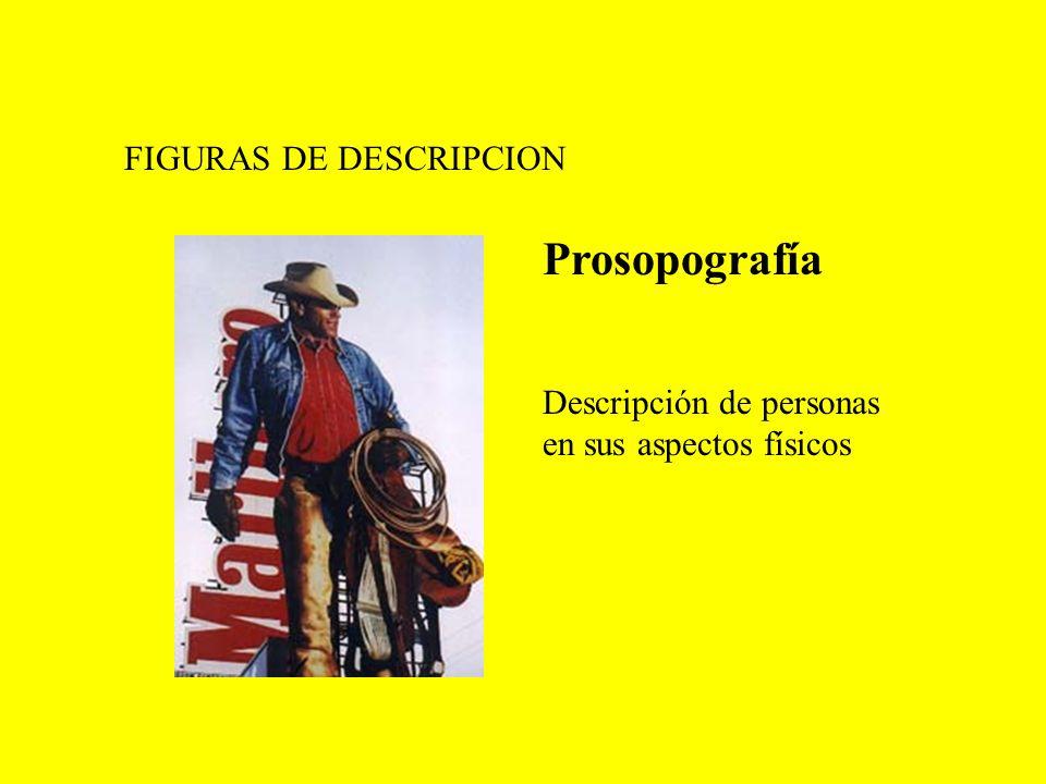 FIGURAS DE DESCRIPCION Prosopografía Descripción de personas en sus aspectos físicos