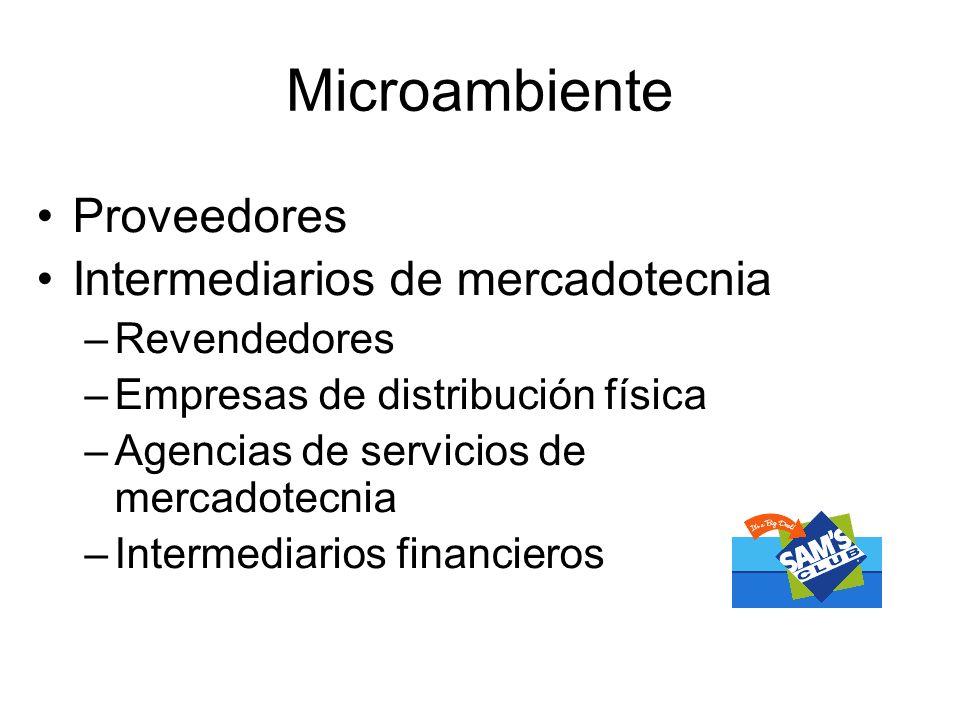 Microambiente Proveedores Intermediarios de mercadotecnia –Revendedores –Empresas de distribución física –Agencias de servicios de mercadotecnia –Inte