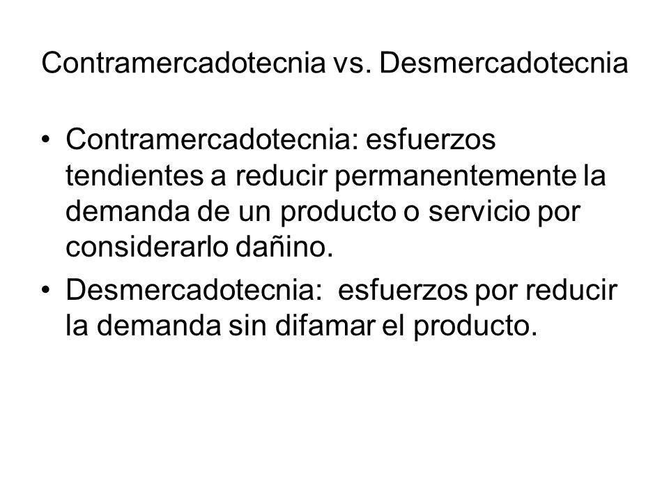 Contramercadotecnia: esfuerzos tendientes a reducir permanentemente la demanda de un producto o servicio por considerarlo dañino. Desmercadotecnia: es