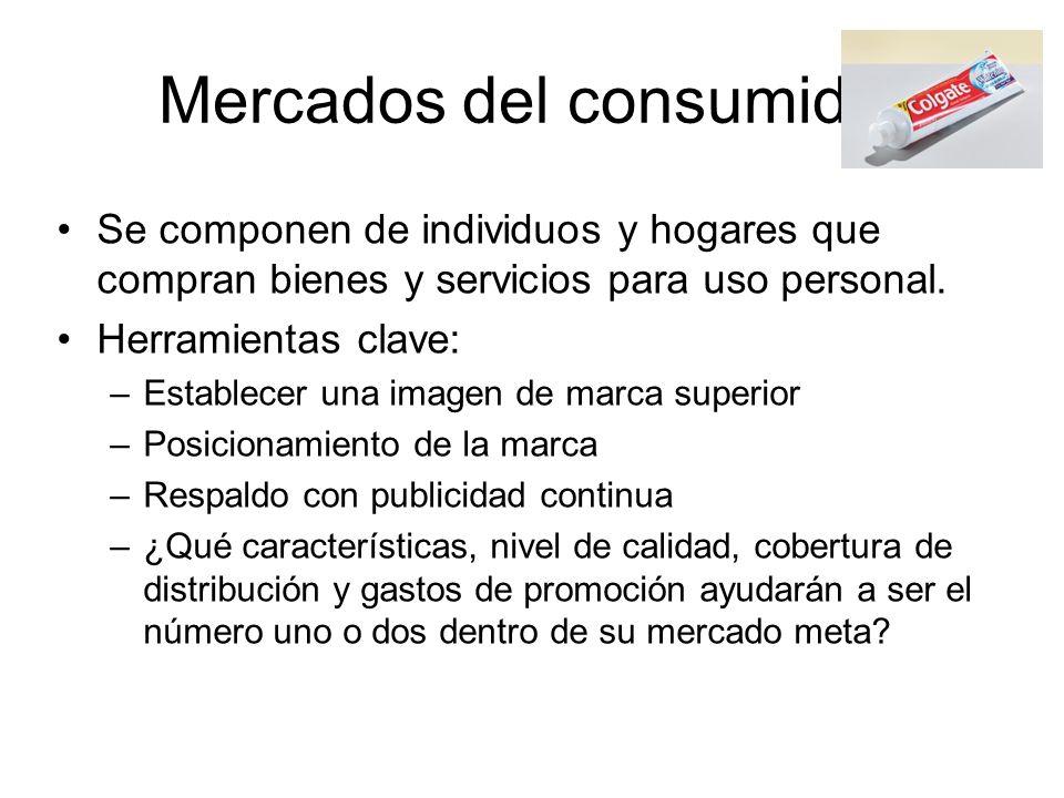 Mercados del consumidor Se componen de individuos y hogares que compran bienes y servicios para uso personal. Herramientas clave: –Establecer una imag