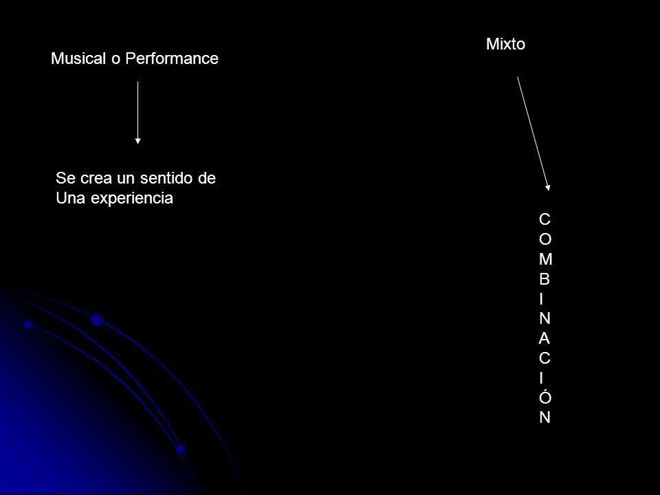 Musical o Performance Se crea un sentido de Una experiencia Mixto COMBINACIÓNCOMBINACIÓN