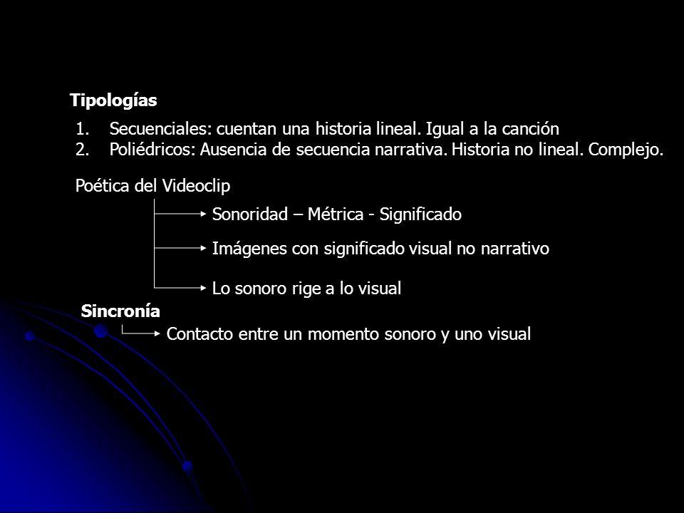 Tipologías 1.Secuenciales: cuentan una historia lineal. Igual a la canción 2.Poliédricos: Ausencia de secuencia narrativa. Historia no lineal. Complej