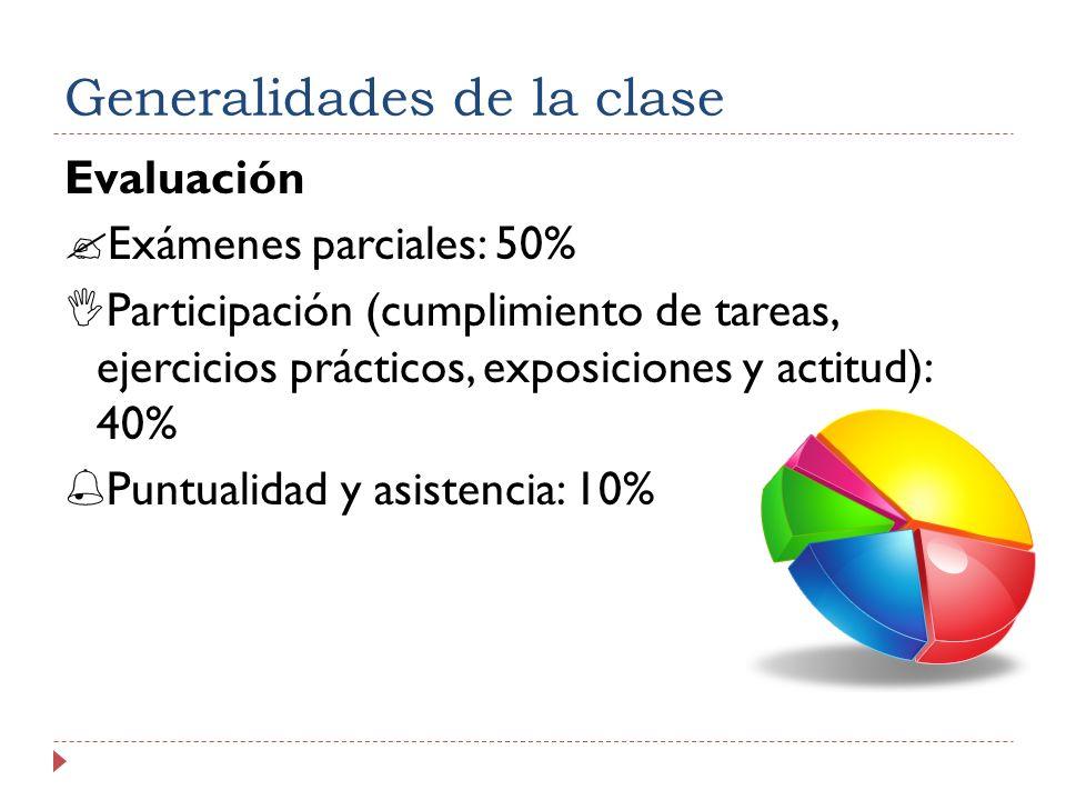 Generalidades de la clase Evaluación Exámenes parciales: 50% Participación (cumplimiento de tareas, ejercicios prácticos, exposiciones y actitud): 40% Puntualidad y asistencia: 10%