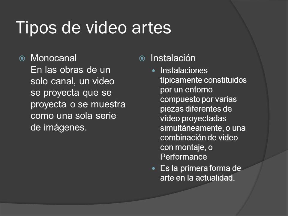 Tipos de video artes Monocanal En las obras de un solo canal, un video se proyecta que se proyecta o se muestra como una sola serie de imágenes. Insta