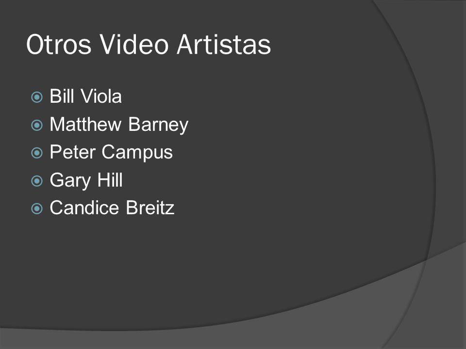 Otros Video Artistas Bill Viola Matthew Barney Peter Campus Gary Hill Candice Breitz