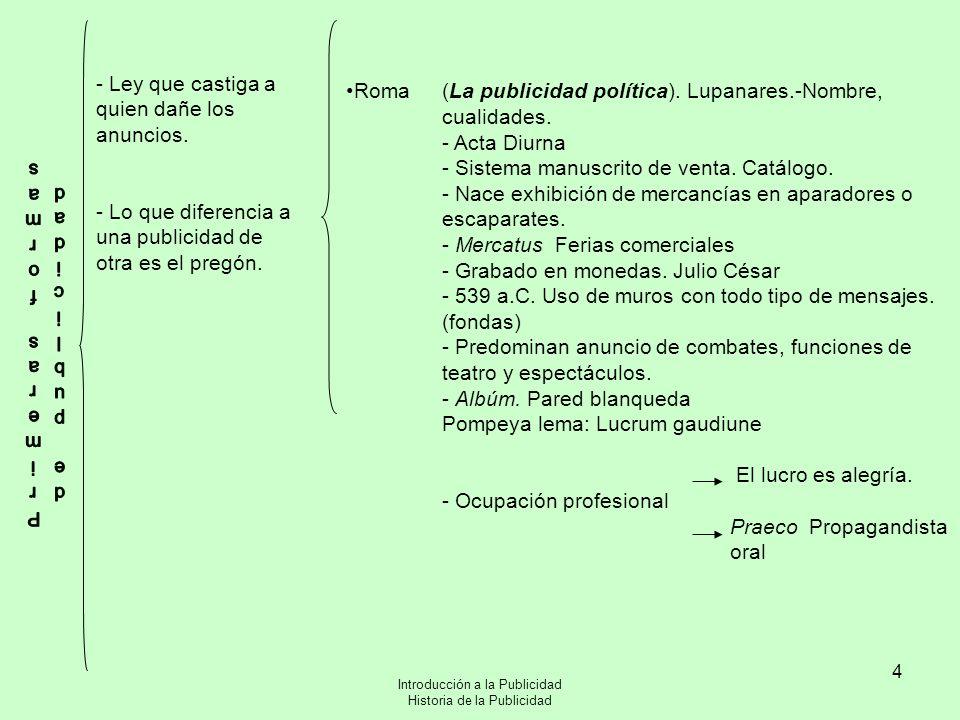 Introducción a la Publicidad Historia de la Publicidad 4 Roma(La publicidad política). Lupanares.-Nombre, cualidades. - Acta Diurna - Sistema manuscri