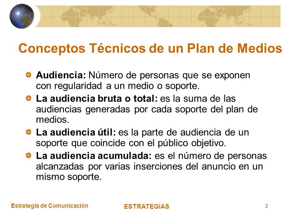 Estrategia de Comunicación ESTRATEGIAS 2 Conceptos Técnicos de un Plan de Medios Audiencia: Número de personas que se exponen con regularidad a un med