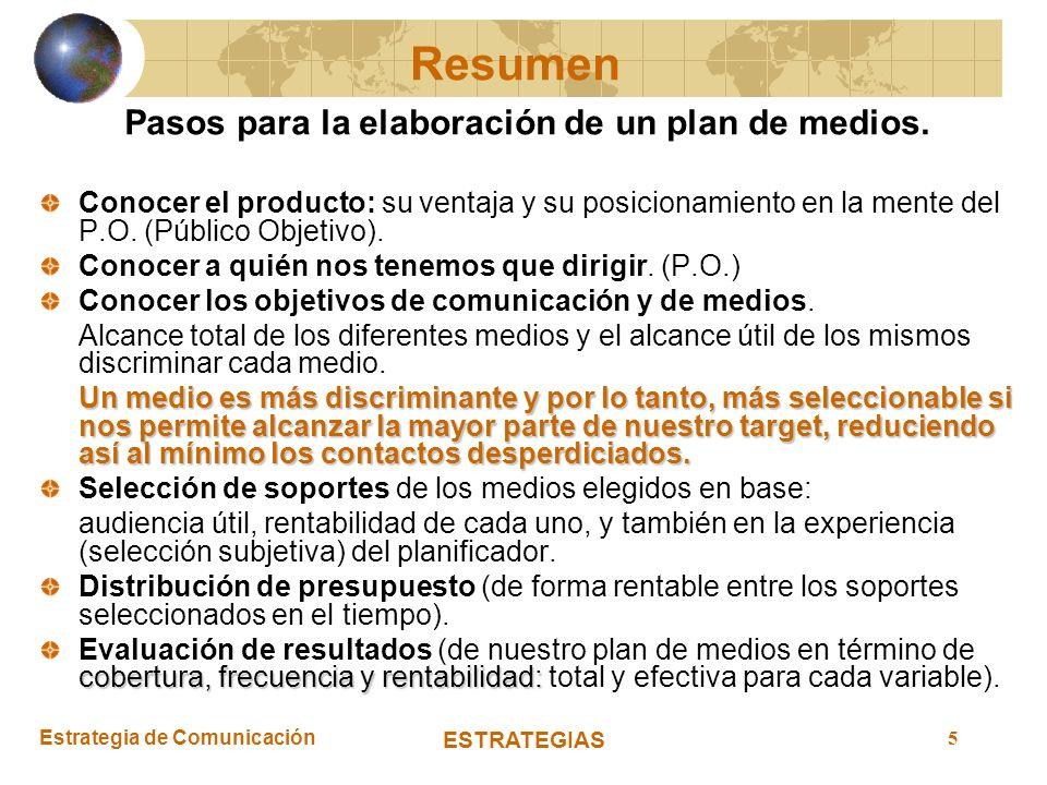 Estrategia de Comunicación ESTRATEGIAS 5 Pasos para la elaboración de un plan de medios. Conocer el producto: su ventaja y su posicionamiento en la me