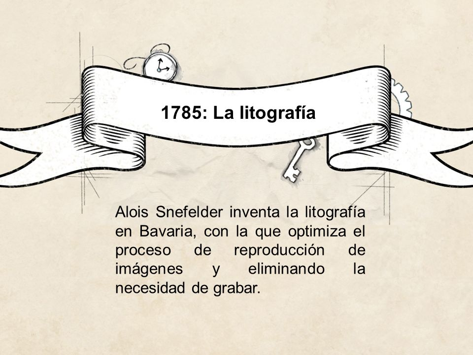 1785: La litografía Alois Snefelder inventa la litografía en Bavaria, con la que optimiza el proceso de reproducción de imágenes y eliminando la neces