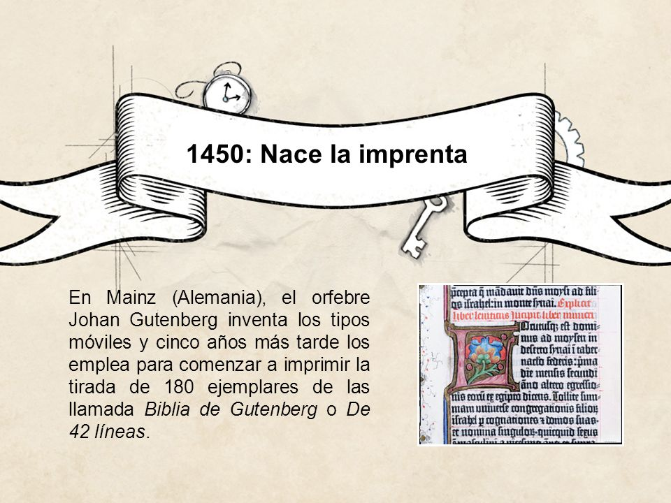 1886: Los linotipos Ottmar Mergenthaler inventa la linotipia.