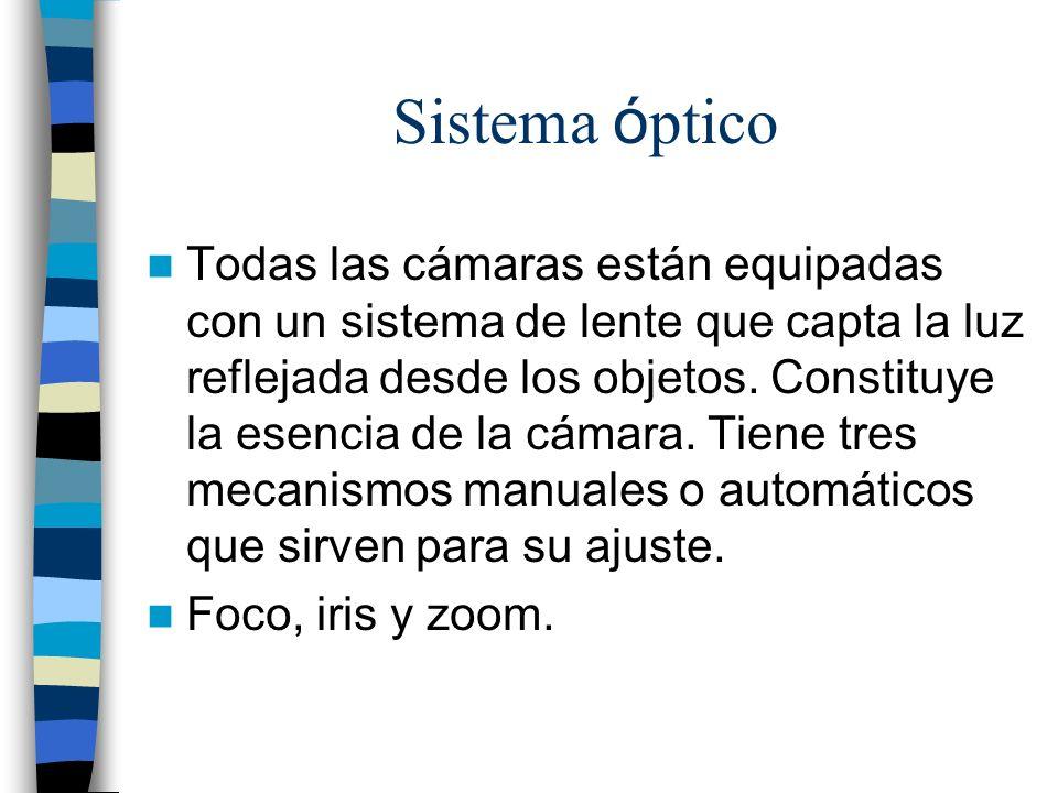 Sistema ó ptico Todas las cámaras están equipadas con un sistema de lente que capta la luz reflejada desde los objetos. Constituye la esencia de la cá