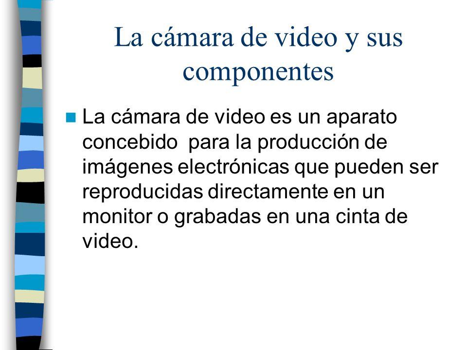 La cámara de video y sus componentes La cámara de video es un aparato concebido para la producción de imágenes electrónicas que pueden ser reproducida