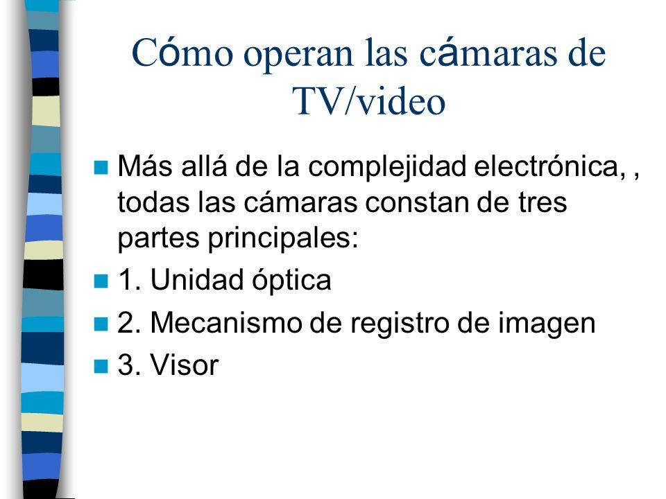 C ó mo operan las c á maras de TV/video Más allá de la complejidad electrónica,, todas las cámaras constan de tres partes principales: 1. Unidad óptic