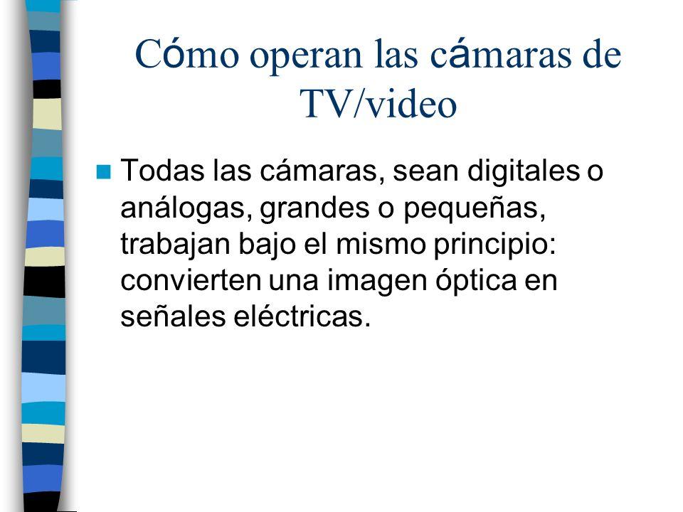 C ó mo operan las c á maras de TV/video Todas las cámaras, sean digitales o análogas, grandes o pequeñas, trabajan bajo el mismo principio: convierten