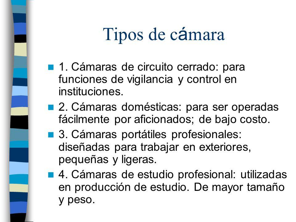Tipos de c á mara 1. Cámaras de circuito cerrado: para funciones de vigilancia y control en instituciones. 2. Cámaras domésticas: para ser operadas fá
