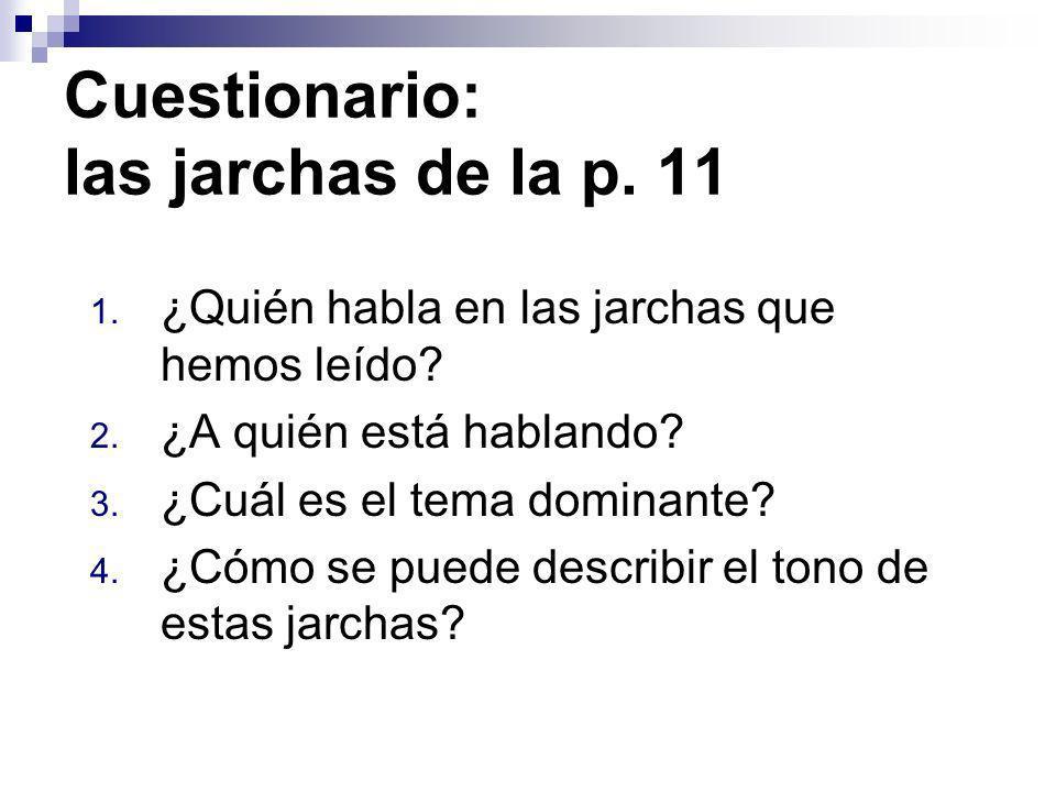Cuestionario: las jarchas de la p. 11 1. ¿Quién habla en las jarchas que hemos leído? 2. ¿A quién está hablando? 3. ¿Cuál es el tema dominante? 4. ¿Có