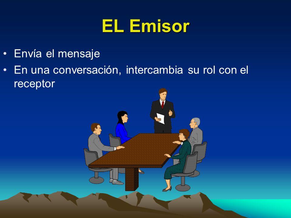 EL Emisor Envía el mensaje En una conversación, intercambia su rol con el receptor