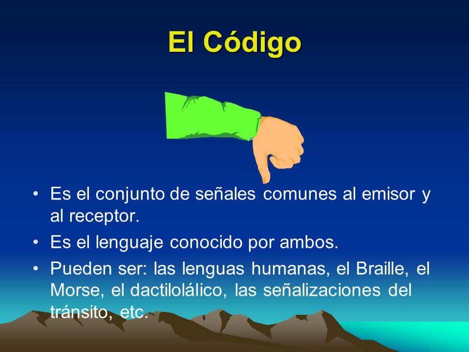 El Código Es el conjunto de señales comunes al emisor y al receptor.