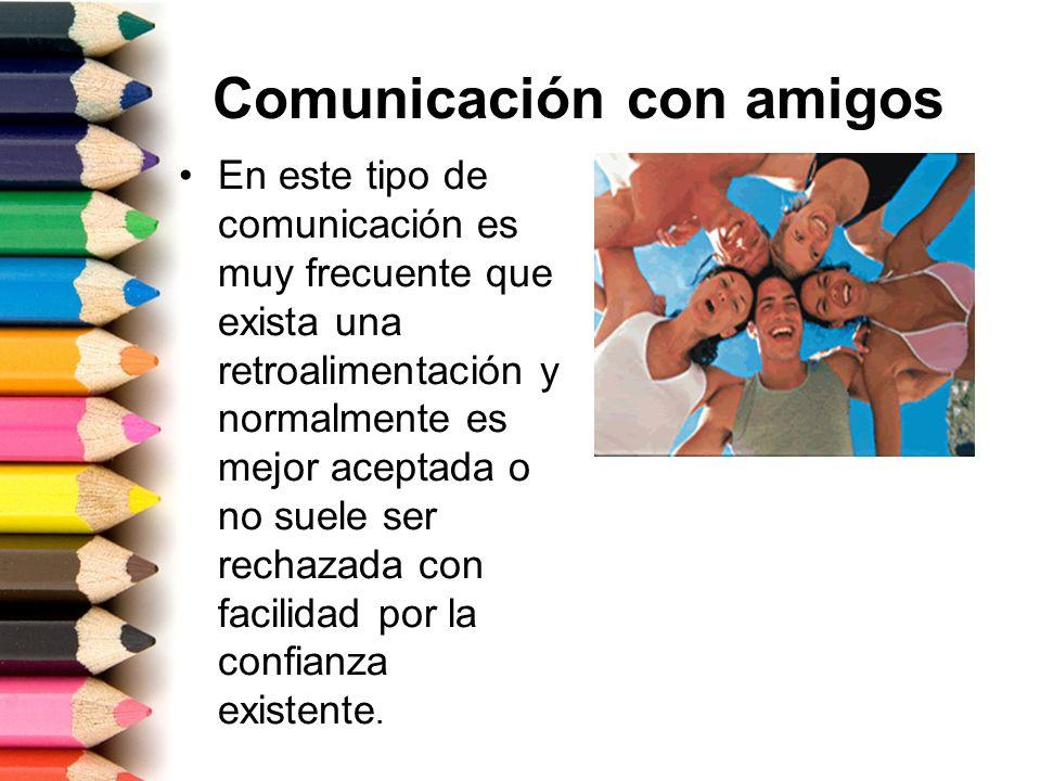 Comunicación con amigos En este tipo de comunicación es muy frecuente que exista una retroalimentación y normalmente es mejor aceptada o no suele ser