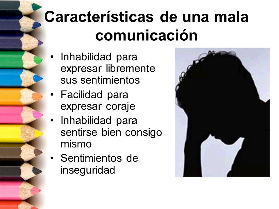 Características de una mala comunicación Inhabilidad para expresar libremente sus sentimientos Facilidad para expresar coraje Inhabilidad para sentirs
