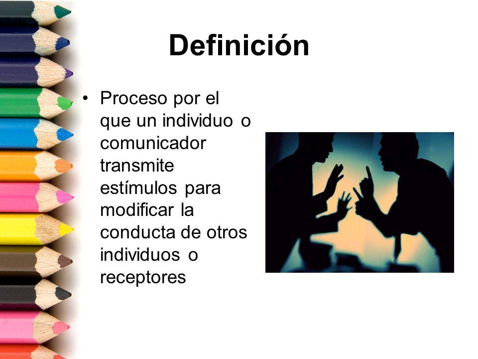 Definición Proceso por el que un individuo o comunicador transmite estímulos para modificar la conducta de otros individuos o receptores