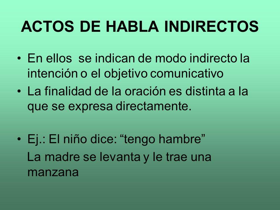 ACTOS DE HABLA INDIRECTOS En ellos se indican de modo indirecto la intención o el objetivo comunicativo La finalidad de la oración es distinta a la qu