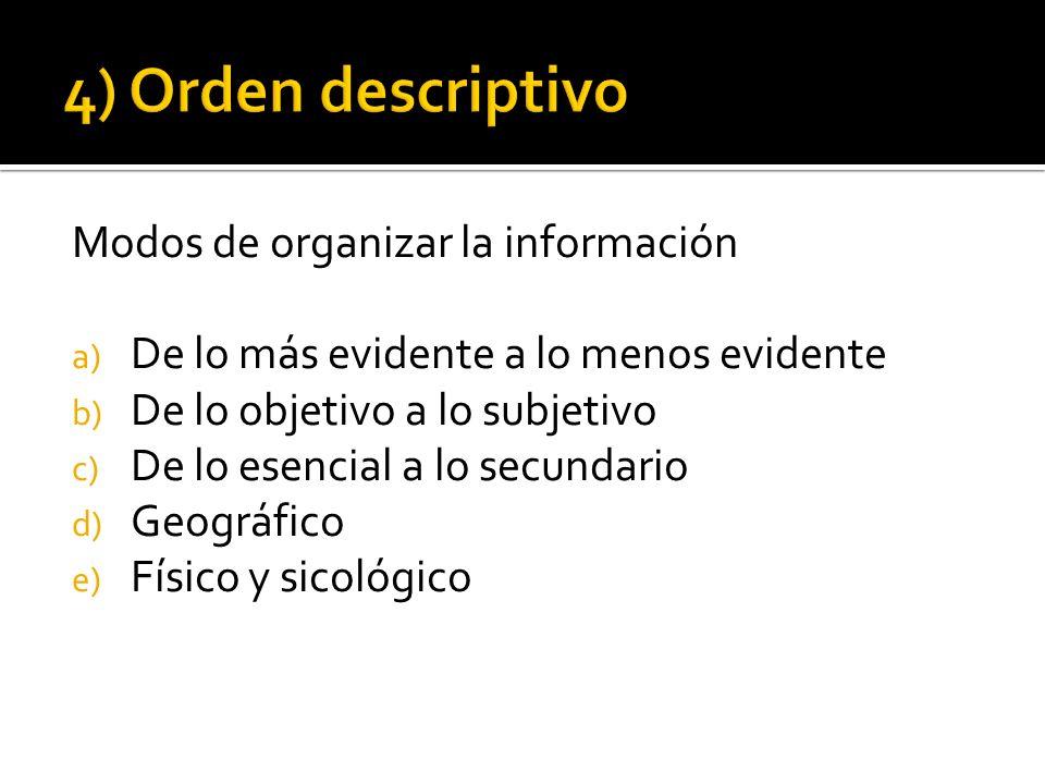 Modos de organizar la información a) De lo más evidente a lo menos evidente b) De lo objetivo a lo subjetivo c) De lo esencial a lo secundario d) Geog