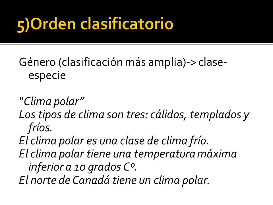 Género (clasificación más amplia)-> clase- especie Clima polar Los tipos de clima son tres: cálidos, templados y fríos. El clima polar es una clase de