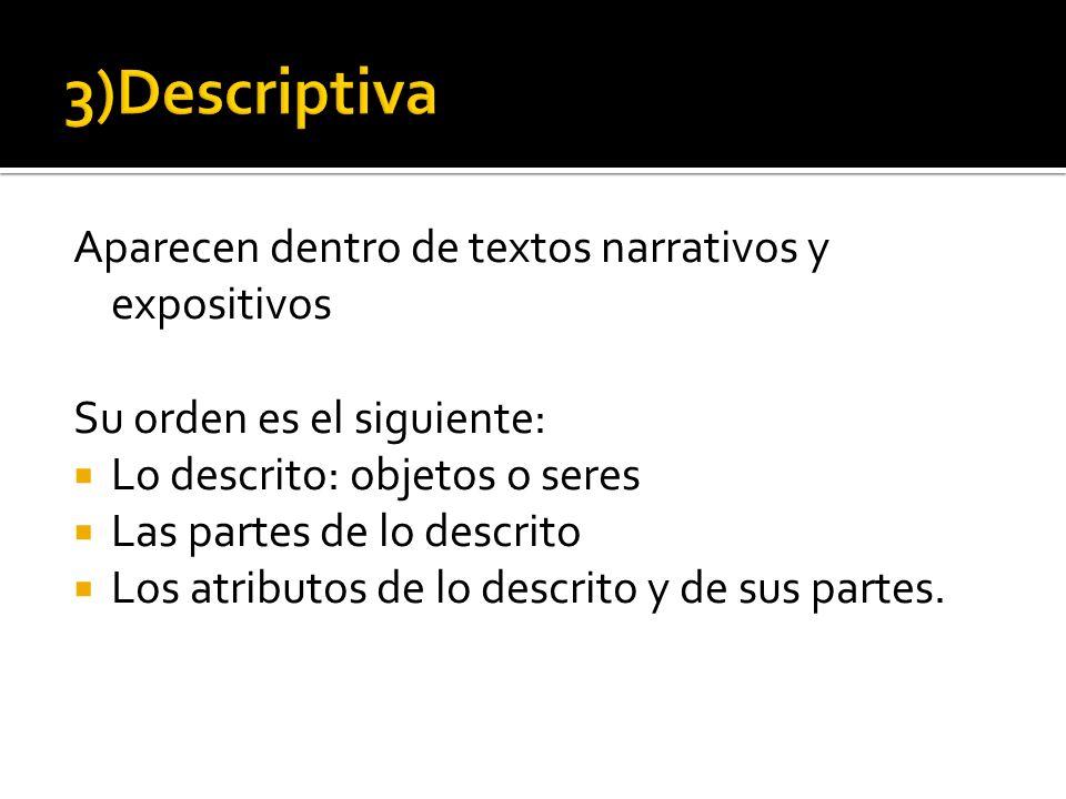 Aparecen dentro de textos narrativos y expositivos Su orden es el siguiente: Lo descrito: objetos o seres Las partes de lo descrito Los atributos de l