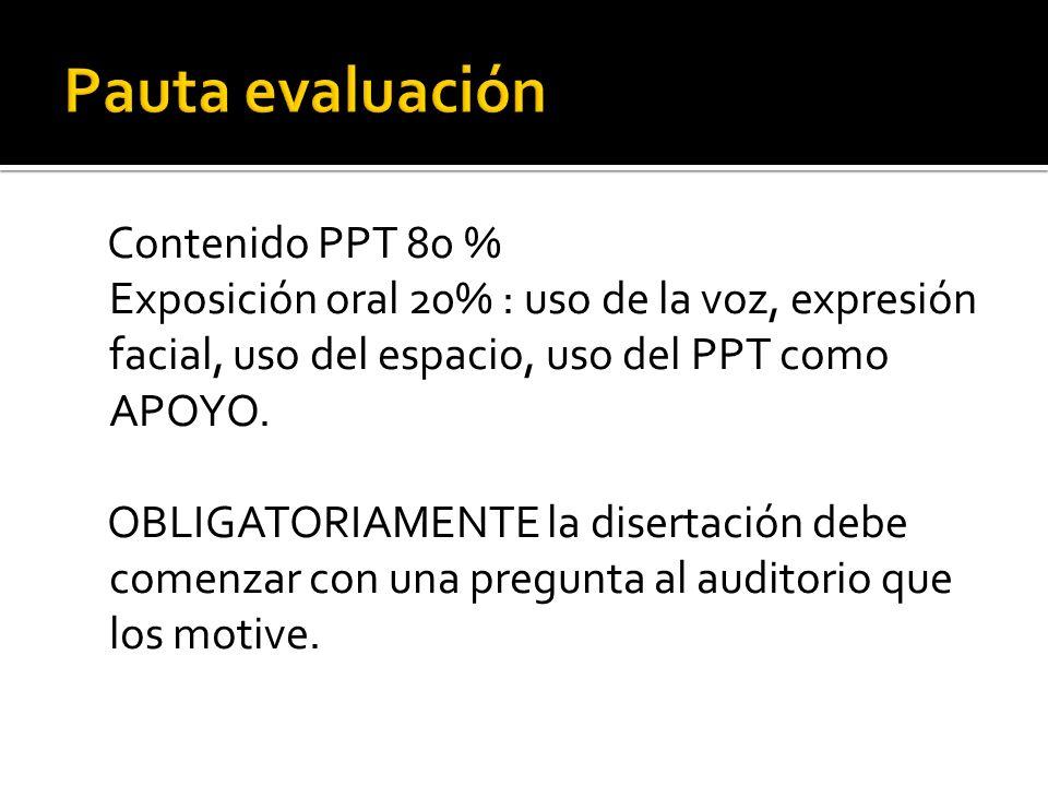 Contenido PPT 80 % Exposición oral 20% : uso de la voz, expresión facial, uso del espacio, uso del PPT como APOYO. OBLIGATORIAMENTE la disertación deb
