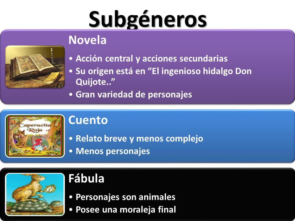 Subgéneros Novela Acción central y acciones secundarias Su origen está en El ingenioso hidalgo Don Quijote.. Gran variedad de personajes Cuento Relato