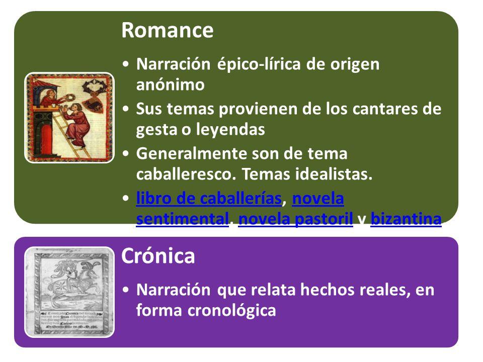 Romance Narración épico-lírica de origen anónimo Sus temas provienen de los cantares de gesta o leyendas Generalmente son de tema caballeresco. Temas