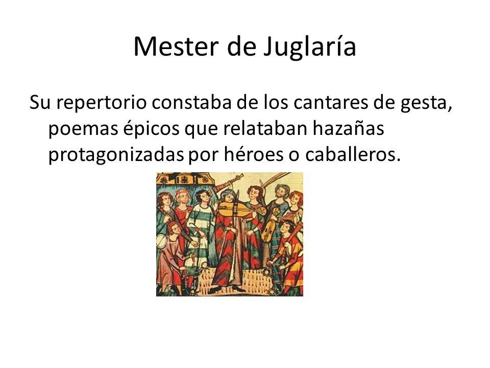 El mester de juglaría mester viene del latín ministerium, que significa ministerio u oficio. El mester de juglaría corresponde al oficio que desempeña