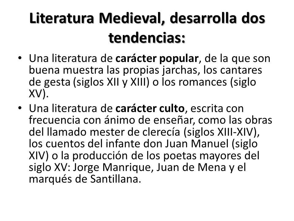 Literatura Medieval, desarrolla dos tendencias: Una literatura de carácter popular, de la que son buena muestra las propias jarchas, los cantares de gesta (siglos XII y XIII) o los romances (siglo XV).