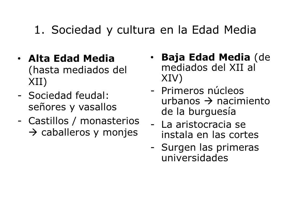 1. Sociedad y cultura en la Edad Media Alta Edad Media (hasta mediados del XII) -Sociedad feudal: señores y vasallos -Castillos / monasterios caballer