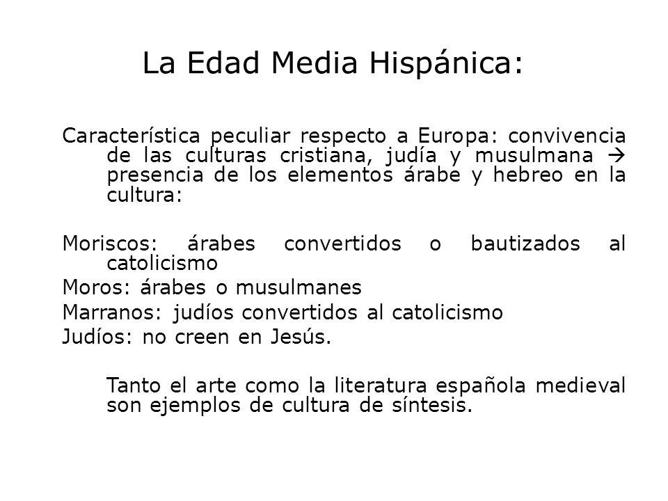 La Edad Media Hispánica: Característica peculiar respecto a Europa: convivencia de las culturas cristiana, judía y musulmana presencia de los elemento